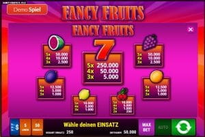 Fancy Fruits Bally Wulff Paytable
