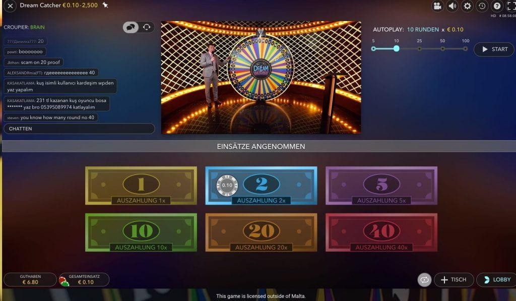 Ein roulette spieler setzt seinen einsatz von 10
