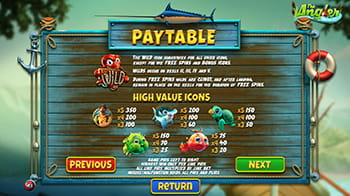 The Angler paytable