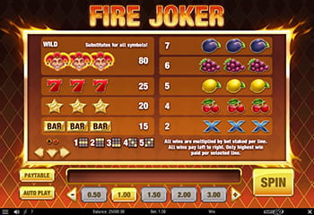 Fire Joker paytable